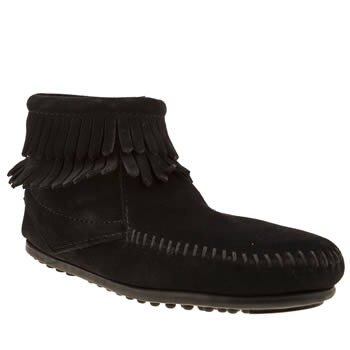 Minnetonka Black Double Fringed Side Zip Girls Junior