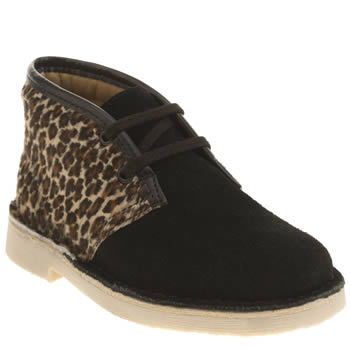 Clarks Originals Black & Brown Desert Boot Girls Junior