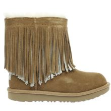 Ugg Tan Classic Short Ii Fringe Girls Junior
