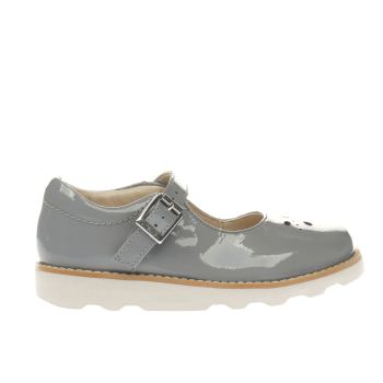 CLARKS GREY CROWN POSY GIRLS JUNIOR SHOES
