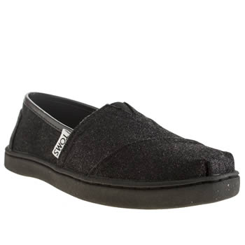 Girls Toms Black Glimmer Girls Junior