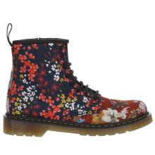 Dr Martens Navy & Red Floral Delaney Girls Junior