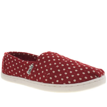 Toms White & Red Seasonal Classic Girls Youth