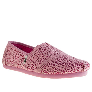 Girls Toms Pink Classic Crochet Girls Youth