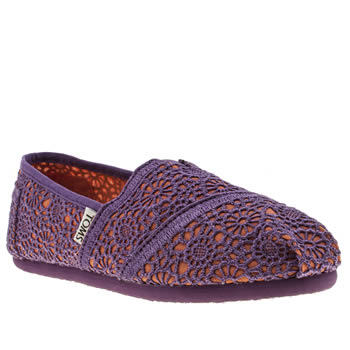Toms Purple Classic Crochet Girls Youth