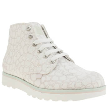 Kickers White Kick Lite Love Hearts Girls Youth