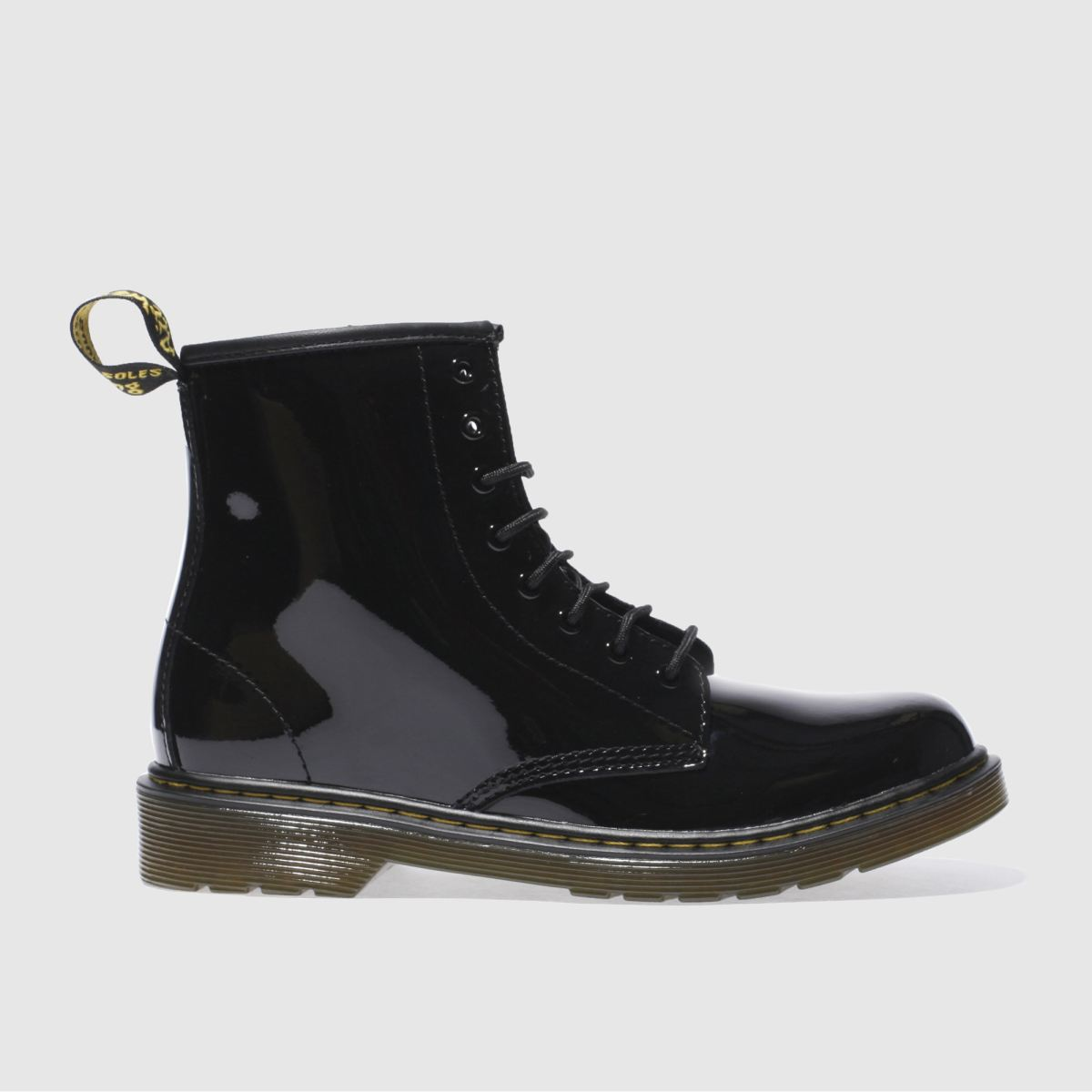 dr martens black delaney lace patent Girls Youth Boots