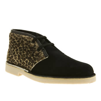 Clarks Originals Black & Brown Desert Boot Girls Youth