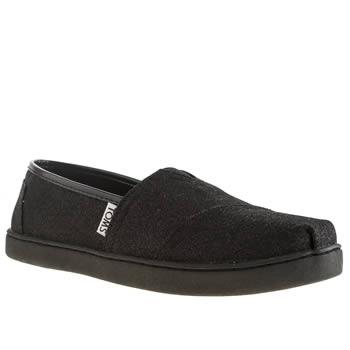 Girls Toms Black Glimmer Girls Youth