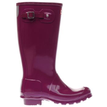 HUNTER PURPLE ORIGINAL GLOSS GIRLS YOUTH BOOTS
