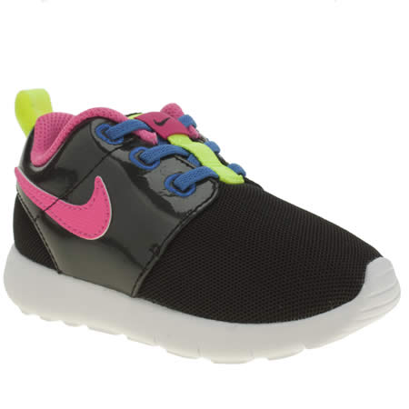 rfpub Girls Black & Pink Nike Roshe One Toddler Trainers | schuh