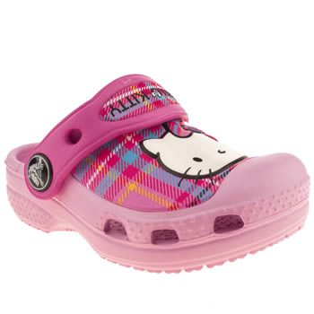 kids crocs pale pink hello kitty clog trainers