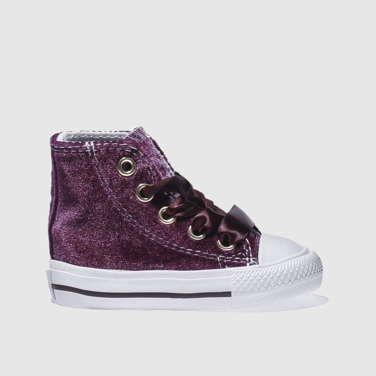 converse burgundy all star velvet hi Girls Toddler Trainers