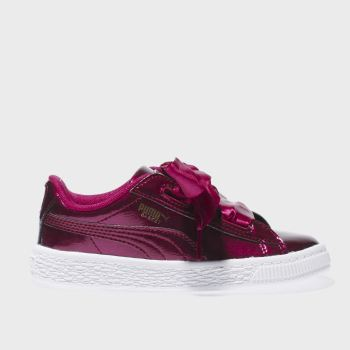 Puma Burgundy Basket Heart Glam Girls Toddler