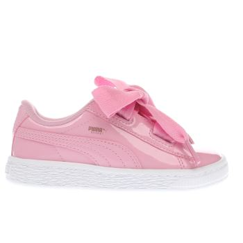Puma Pink BASKET HEART PATENT Girls Toddler