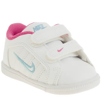 Girls Nike White & Pink Court Tradition 2 Plus Girls Toddler