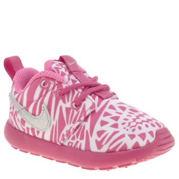 Girls Nike White & Pink Roshe Run Print Girls Toddler