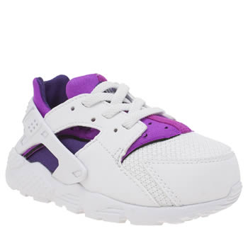 Nike White & Purple Huarache Run Girls Toddler