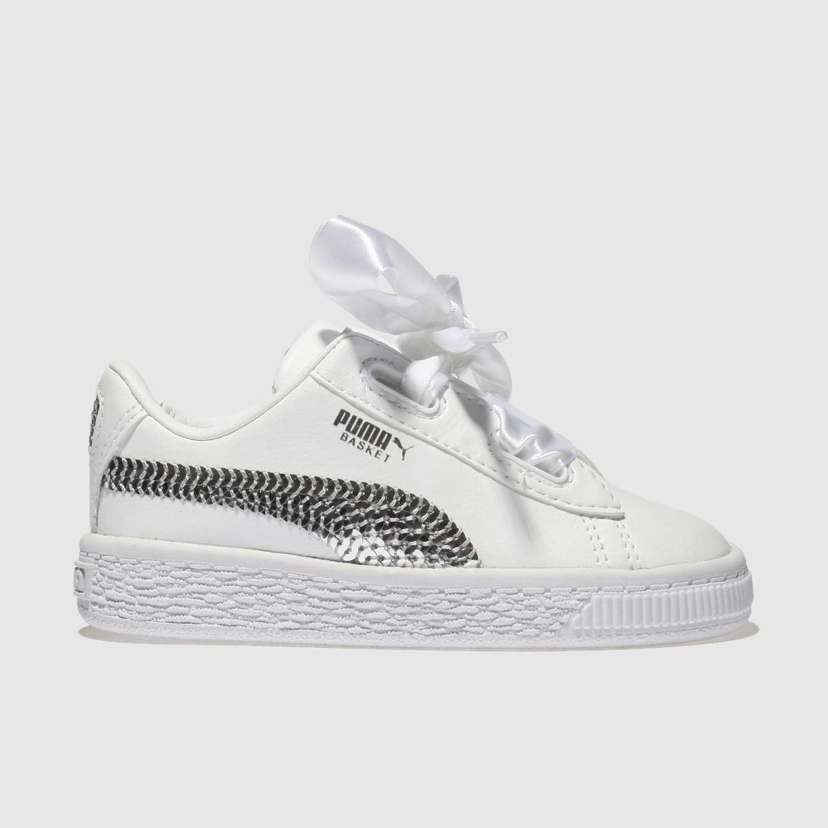 Puma White & Silver Basket Heart Bling Girls Toddler Toddler