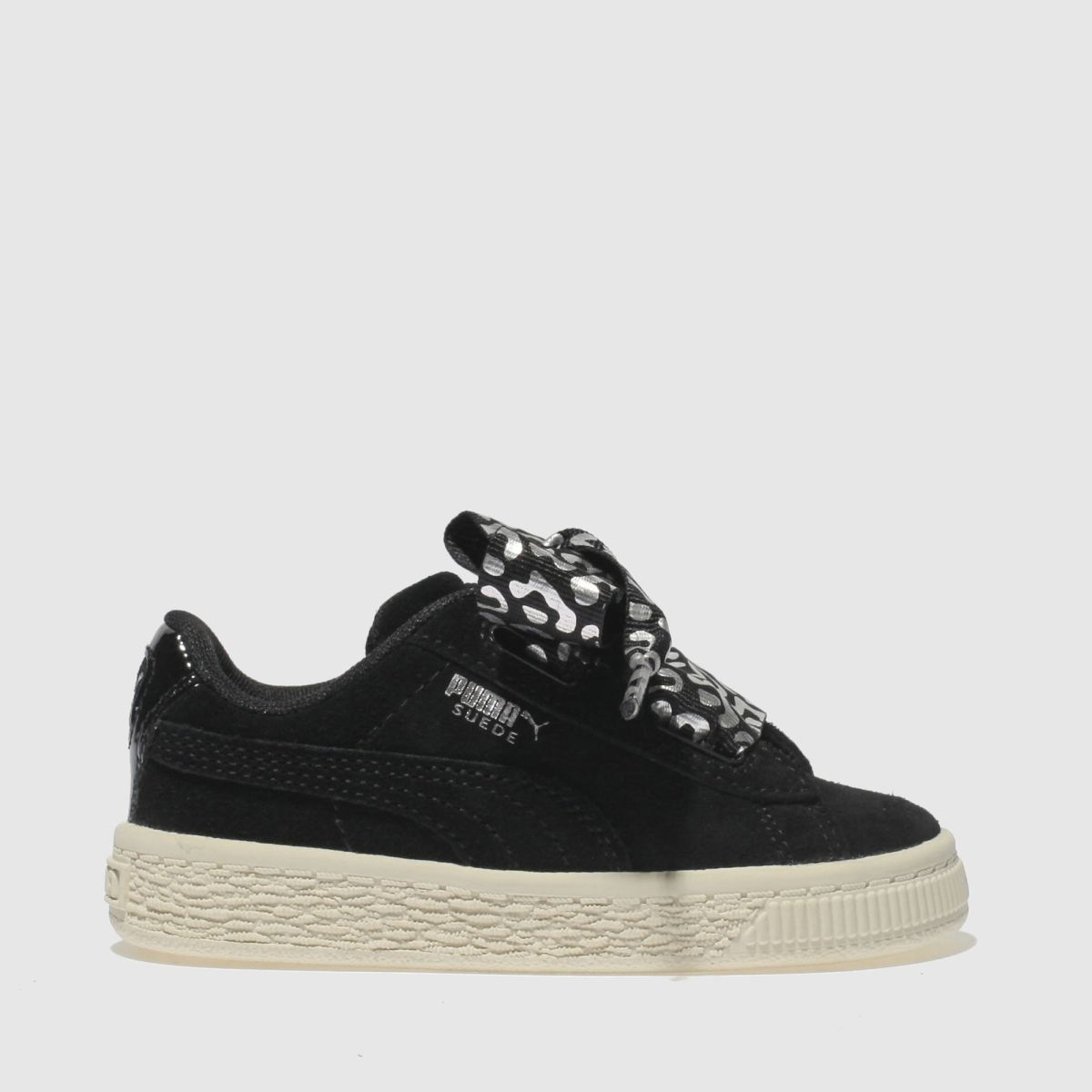 Puma Black & Silver Suede Heart Athluxe Trainers Toddler