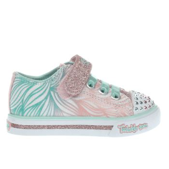 Skechers Pink & Mint Green TWINKLE TOES SPARKLE Girls Toddler