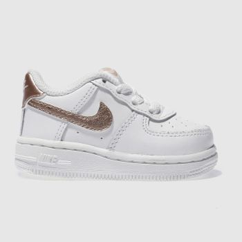 Nike White & Gold AIR FORCE 1 Girls Toddler