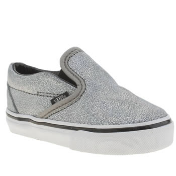 Girls Vans Silver Matte Iridescent Slip-on Girls Toddler