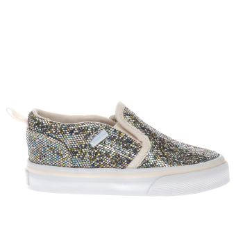 Vans White & Silver Asher Slip On Girls Toddler