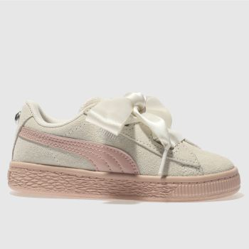 Puma White Suede Heart Jewel Girls Toddler