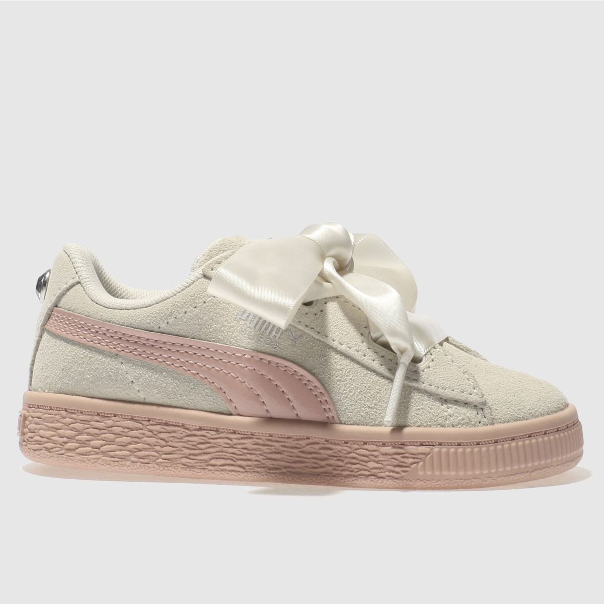 Puma White Suede Heart Jewel Girls Toddler Trainers
