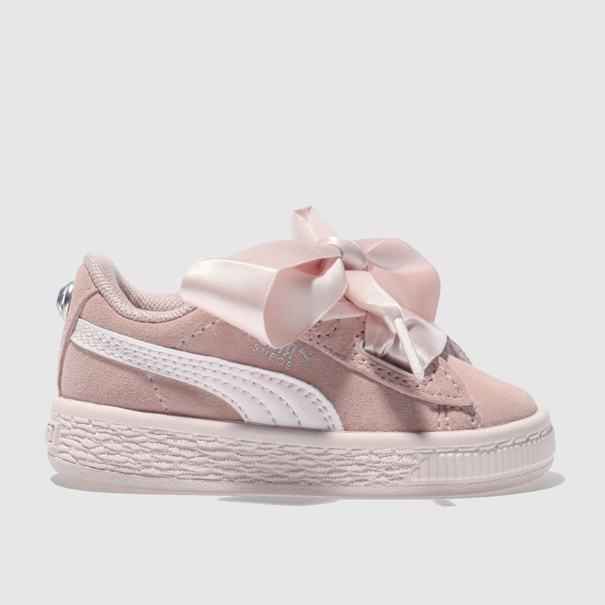Puma Pink Suede Heart Jewel Tdlr Girls Toddler Trainers