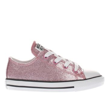 CONVERSE PINK CONS ALL STAR OX GLITTER GIRLS TODDLER TRAINERS