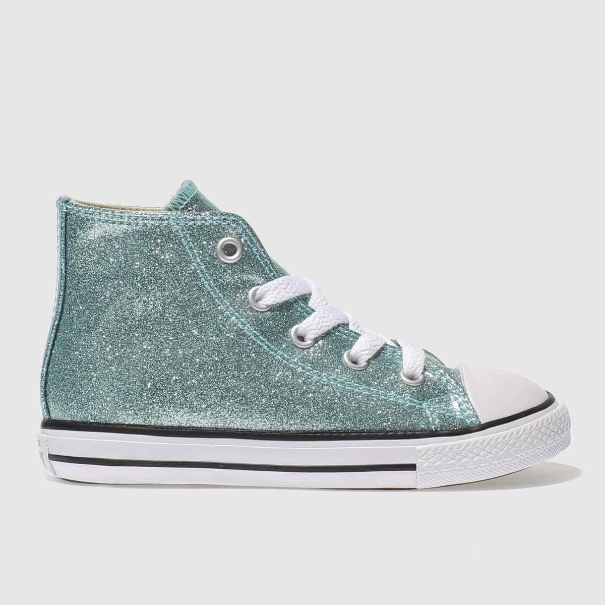 Converse Pale Blue All Star Hi Glitter Girls Toddler Trainers