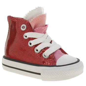 Girls Converse Red All Star Party Hi Girls Toddler