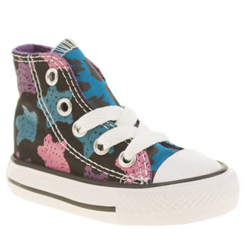 Girls Converse Black & Purple All Star Hi Animal Girls Toddler