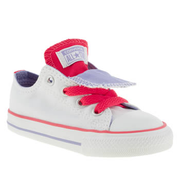 kids converse white & red all star double tongue trainers