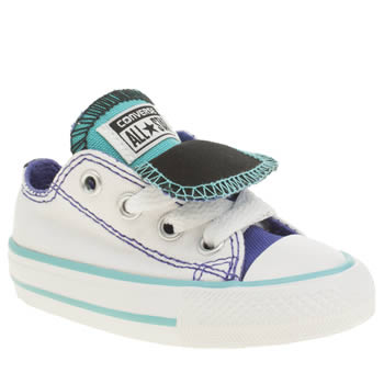 Girls Converse White & Purple All Star Double Tongue Ox Girls Toddler