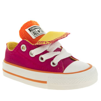 Girls Converse Pink All Star Double Tongue Girls Toddler