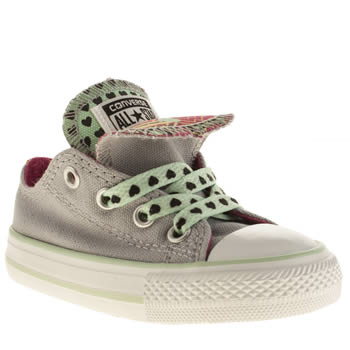 kids converse grey all star double tongue trainers