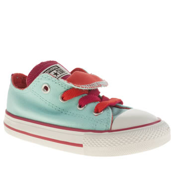 Girls Converse Light Green All Star Double Tongue Oxford Girls Toddler
