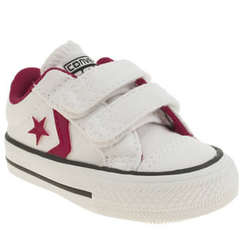 Girls Converse White & Pink Star Player Girls Toddler