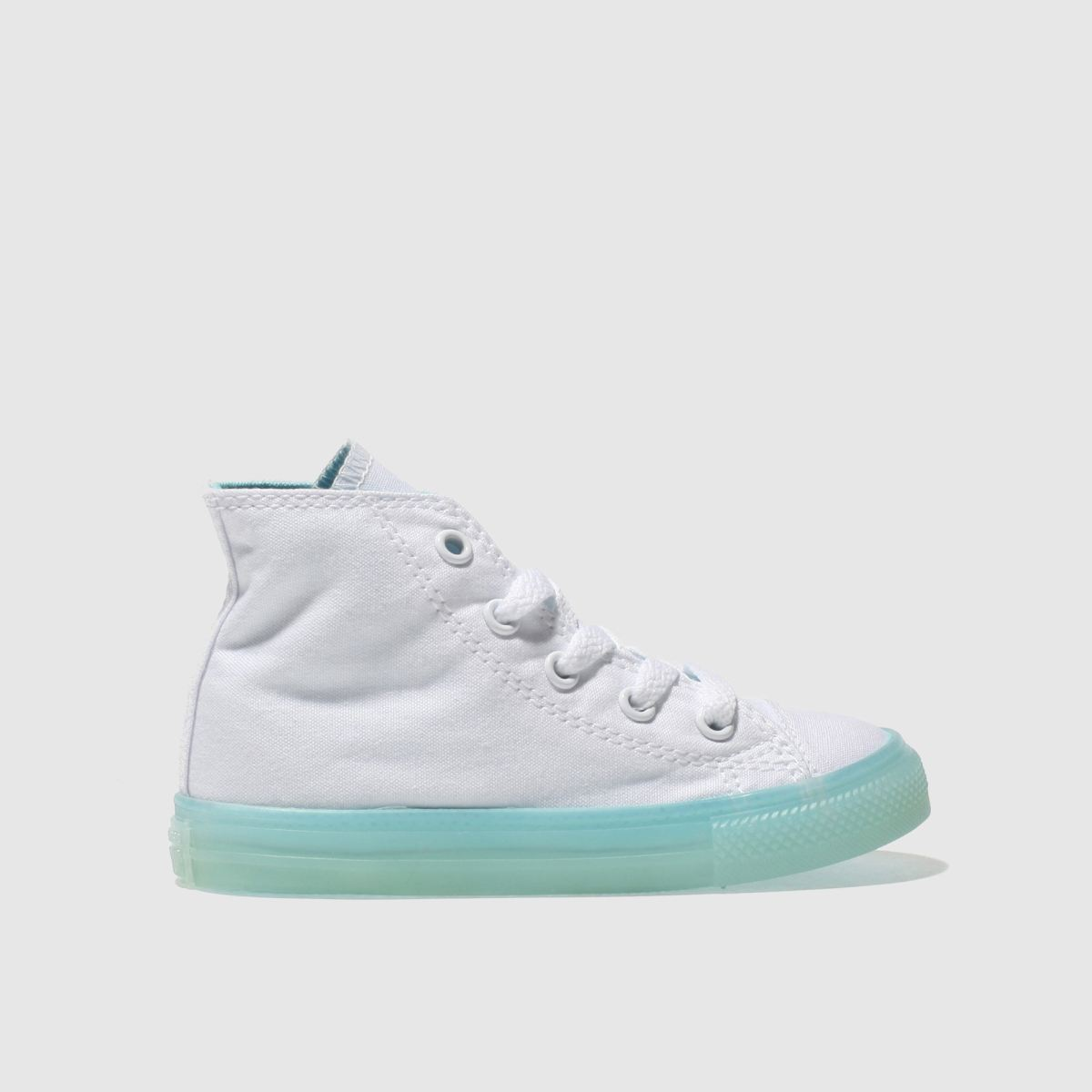 Converse White & Pl Blue Chuck Taylor All Star Hi Girls Toddler Trainers