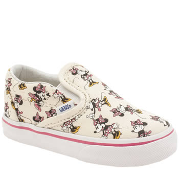 Vans White & Pink Disney Minnie Mouse Slip On Girls Toddler