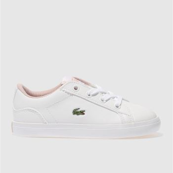 LACOSTE WHITE & PINK LEROND GIRLS TODDLER TRAINERS