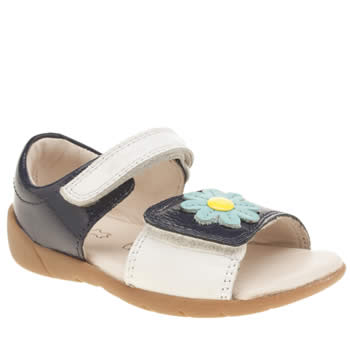 Clarks Navy & White Softly Eve Fst Girls Toddler