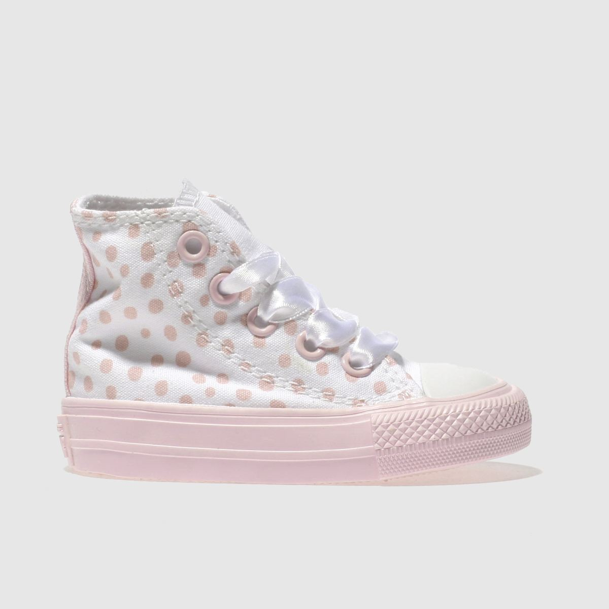 Converse White & Pink All Star Hi Polka Dot Girls Toddler Trainers
