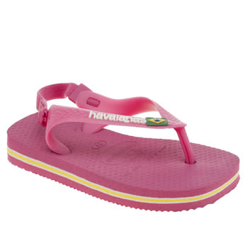 HAVAIANAS PINK BRASIL LOGO GIRLS TODDLER SANDALS