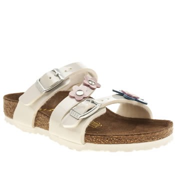 Birkenstock White & Pink Salina Flower Girls Toddler
