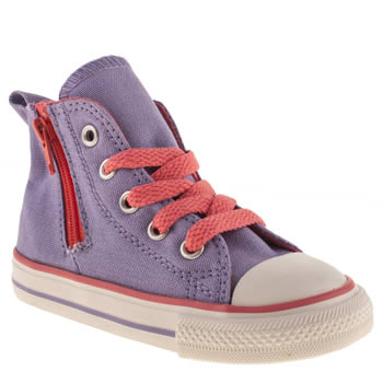 kids converse lilac all star side zip hi trainers
