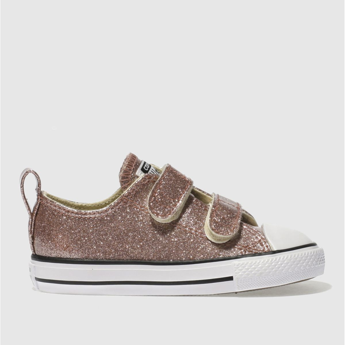 Converse Rose Gold All Star Glitter 2v Girls Toddler Trainers